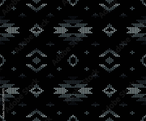 Papel de parede Tribal ethnic geometric pattern seamless in pixel style in vector for fashion