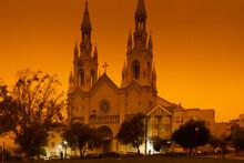 Orange Smoky Sky Over Saint Pe...