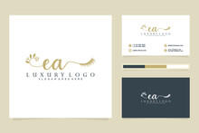 Initial EA Feminine Logo Collections And Business Card Templat Premium Vector