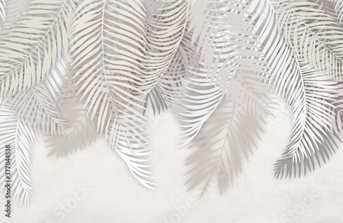Wallpaper palm leaves on a concrete background