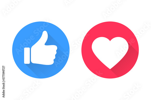 Obraz Thumbs and heart icon. Vector love and love icon. Like and like buttons ready for websites and mobile apps. Vector illustration - fototapety do salonu