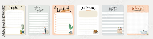 Set of planners and to do list with home interior decor illustrations Fototapete