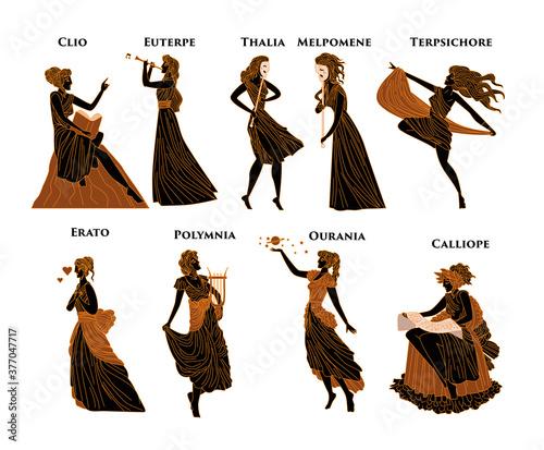 greek mythology muses Clio, Euterpe, Thalia, Melpomene, Terpsichore, Erato, Poly Wallpaper Mural