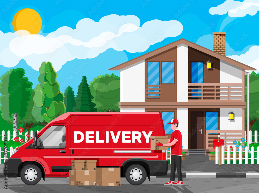 Fototapeta Loader unloads the goods from van. Fast and free delivery service in city. Courier with parcel box. Male mover, paper cardboard boxes with goods. Cargo and logistic. Cartoon flat vector illustration