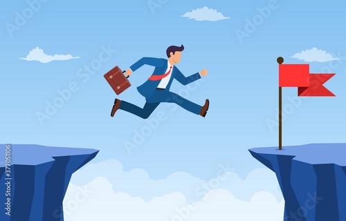 businessman jumped over the cliff to the red flag Tapéta, Fotótapéta