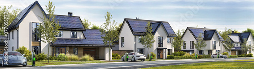 Road and beautiful houses with solar panels on the roof. Charging stations and electric cars