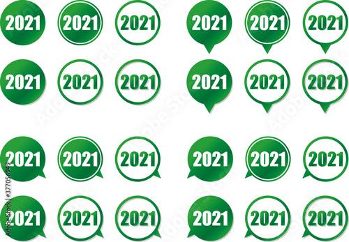 Photo 緑色の円形グラデーションのフキダシに数字2021のデザインセット 影と矢印の向きのバリエーション ベクターイラスト