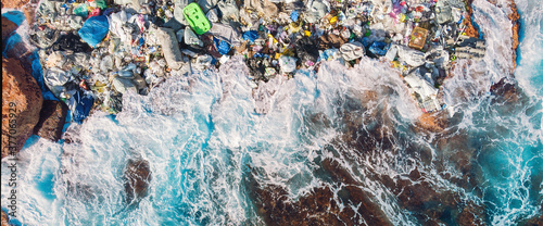Fototapeta Concept environmental pollution ocean and water with garbage plastic and human waste. Aerial top view obraz