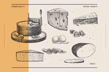 Hand-drawn Types Of Cheese On Light Background. Piece Of Camembert, Slices Of Smoked Cheese, And Knife-girolle. Retro Image For Menu Of Restaurants, Markets And Shops. Vector Illustration.