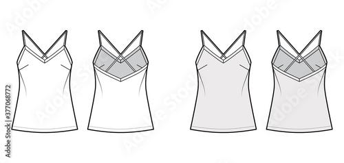 Fotografia, Obraz Camisole technical fashion illustration with flattering V-neck, crisscross spaghetti straps, relaxed fit