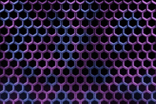 Abstract Hexagon Glowing Neon Blue And Purple Patterns For Future Background.3d Illustration And Rendering.