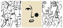 Creative Templates With One Line Face Portrait, Contemporary Abstract Colorful Shapes. Cubism Face. Design Promotion.