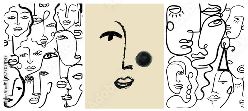 Creative templates with one line face portrait, contemporary abstract colorful shapes Fototapet