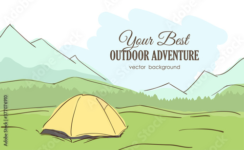 Fotografie, Obraz Vector illustration: Hand-drawn Mountains landscape with yellow tent