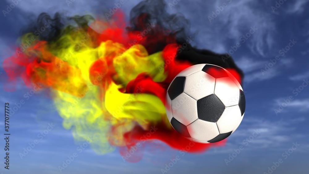 Fototapeta Fliegender Fußball im Himmel mit dem Rauch in Deutschland Farben