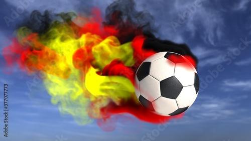 Fliegender Fußball im Himmel mit dem Rauch in Deutschland Farben