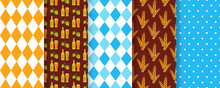 Oktoberfest Seamless Pattern. Octoberfest Background. Vector. Textures With Beer, Rhombus, Wheat, Hop And Polka Dot. Set Of Bavarian Diamond Prints. Germany Traditional Wallpaper. Color Illustration