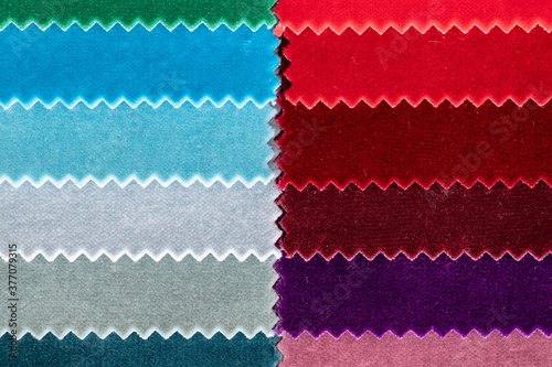 Top down view of gradient colored fabric velvet samples with jagged edges Fotobehang