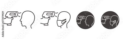 Fotografie, Obraz Body temperature check use gun scanner digital thermometer