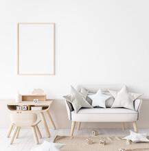 Mock Up Poster Frame In Children Room With Natural Wooden Furniture On Beige Background, 3d Render