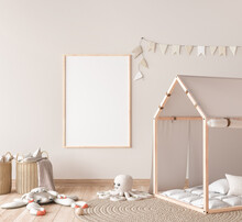Mock Up Poster Frame In Children Room With Natural Wooden Furniture On Beige Background, 3d Render
