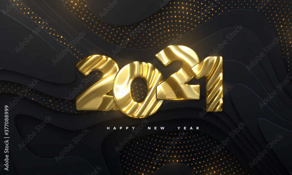 Fototapeta Happy New Year 2021. Holiday NYE event sign. Vector 3d illustration. Golden characters 2021 with wavy sculpted pattern. Black papercut background. Backdrop with glitters. Festive banner design