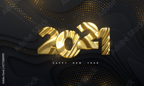 Obraz Happy New Year 2021. Holiday NYE event sign. Vector 3d illustration. Golden characters 2021 with wavy sculpted pattern. Black papercut background. Backdrop with glitters. Festive banner design - fototapety do salonu