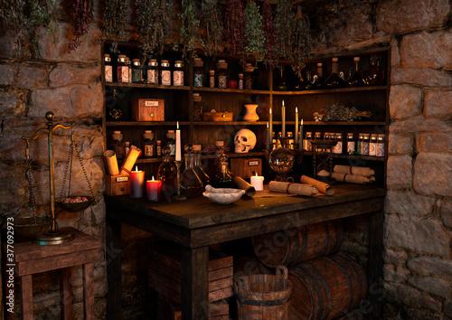 3D Rendering Medieval Fantasy Cottage Tapéta, Fotótapéta