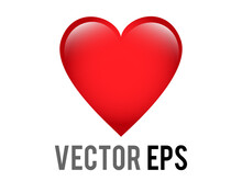 Vector Classic Love Red Glossy Heart Emoji Icon, Used For Expressions Of Love Passion And Romance