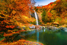 Waterfall View In Autumn. When...