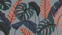 Tropical Forest Art Deco Wallp...