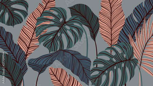 Fototapeta Tropical forest art deco wallpaper. Floral pattern with exotic flowers and leaves, split-leaf Philodendron plant ,monstera plant, Jungle plants line art on trendy background. Vector illustration. obraz