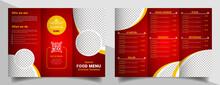 Food Menu Trifold Brochure Template. Food Brochure For Restaurant.