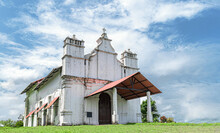 Three Kings Chapel - Beautiful Photo Of Isolated White Church With Beautiful Sky Background. This Baroque Architecture Inspired By Colonial Rule  Is Haunted, Old, White And Has Historic Significance.