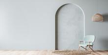 Scandinavian Living Room Mockup, Wooden Chair On Empty Pastel Blue Background, Minimal Panoramic Design, 3d Render