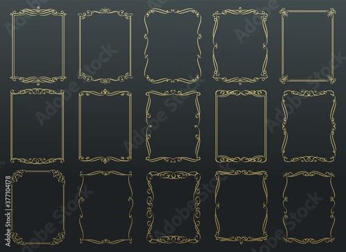 Vintage calligraphic golden frames. Fototapet