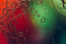 Liquid Surface With Air Bubbles, Abstract Macro Photography
