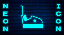 Glowing Neon Bumper Car Icon Isolated On Brick Wall Background. Amusement Park. Childrens Entertainment Playground, Recreation Park. Vector.