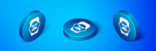 Isometric Portrait Of Joseph Stalin Icon Isolated On Blue Background. Blue Circle Button. Vector.