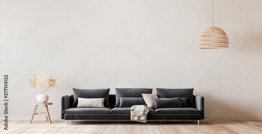 Fototapeta Mock up wall in Scandinavian living room design, home decor with dark sofa and natural wooden furniture on empty bright background - obraz na płótnie