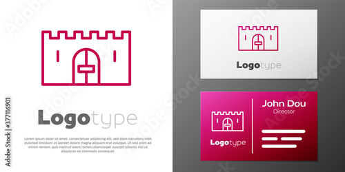 Logotype line Medieval castle gate in a stone wall icon isolated on white background Wallpaper Mural