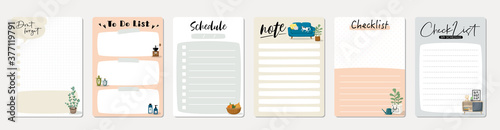 Photo Set of planners and to do list with home interior decor illustrations