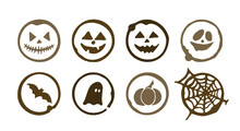 Coffee Spots With Halloween Picture. Dirty Cup Splash Eight Ring Stain Or Coffee Stamp.