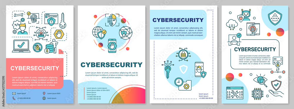 Fototapeta Cybersecurity framework brochure template