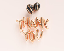 Thank You Note Text Gold Foil ...