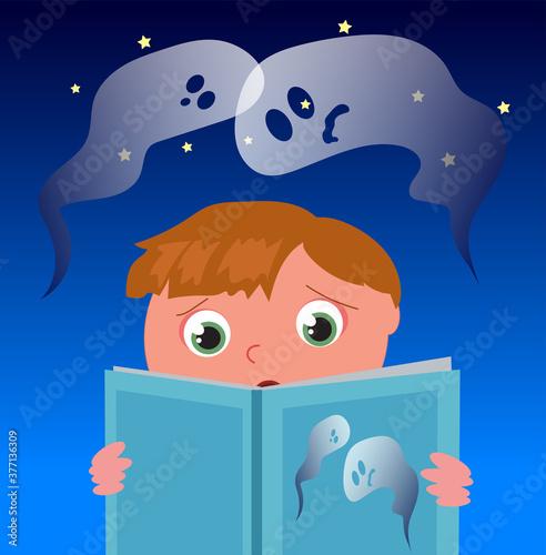 Obraz na plátne Scared boy reads a horror ghost book, cartoon vector illustration