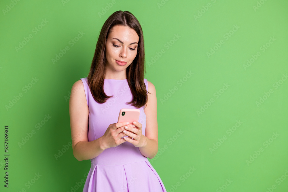 Fototapeta Photo of lovely young girl lady look telephone texting message blog connect subscriber follower share like content virtual work study wear violet dress isolated pastel green color background