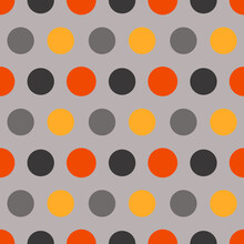 Autumn Seamless Polka Patterns. Endless Texture For Wallpaper, Background, Wrapping. Halloween And Thanksgiving Ornament. Orange, Blue And Gray Colors