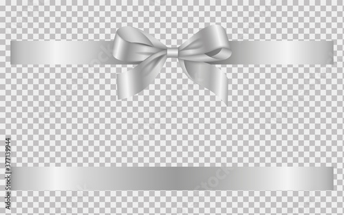 silver bow and ribbon Fotobehang