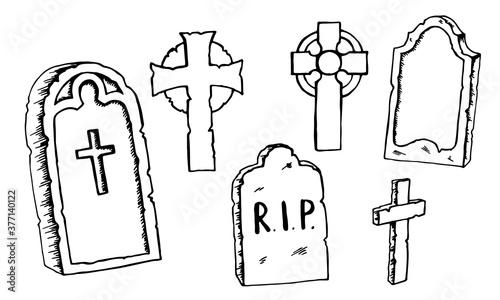 Vintage shabby headstones and celtic crosses set Fotobehang